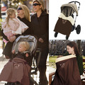 Multifunction Brown Baby Stroller Blanket Waterproof Warm Wool Lining Prevent Wind Nursing Cover Baby Car Accessories 1 PC