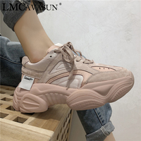 LMCAVASUN Platform Shoes Women Fashion Sneakers Women Thick Sole Chunky Shoes PU Leather Upper Dad Shoes DM61