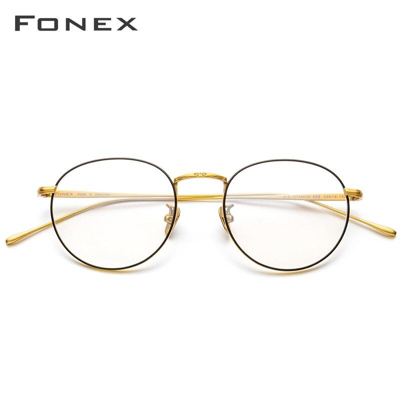 Marco de gafas de titanio puro Vintage ultraligero para hombre, montura de gafas de prescripción óptica de miopía redonda, gafas coreanas para mujer, 888 - 2