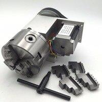 4jaw 100 мм Зажимы полый вал 4th поворотным оси K12 Токарные станки Зажимы + NEMA23 Шаговые двигатели оси вращения с ЧПУ