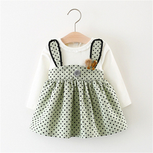 Hot selling kids clothes spliced design girls dresses name brand kids dress spring autumn children clothing lace child Clothing(China)