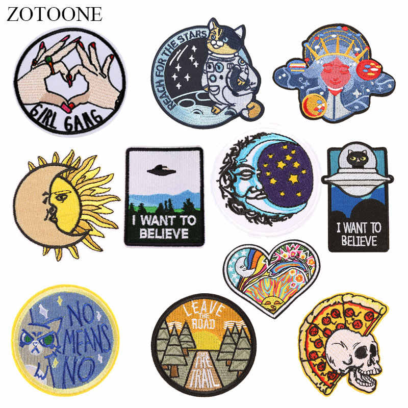 ZOTOONE Heart Cat Skull Patches Badge Diy Stickers Iron on Clothes Heat Transfer Applique Embroidered Applications Cloth Fabric