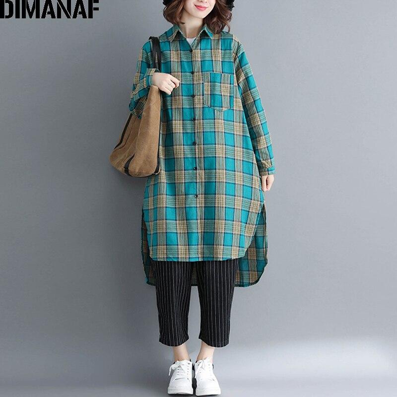 DIMANAF Women Blouse Shirt Cotton Autumn Plus Size Plaid Print Femme Office Lady Clothing Loose Basic Tops Long Sleeve Cardigan