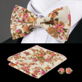 F-604 Hi-Tie New Beige Bowtie Handkerchief Cufflinks Fashion Silk Bow Ties For Men Wedding Christmas Floral Mens Bow Tie Set