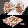 F-604 Hi-Tie Nueva Beige Bowtie Pañuelo Gemelos Moda Floral Para Hombre de la Pajarita Pajaritas de Seda Para Los Hombres de La Boda de Navidad Juego de corbatas