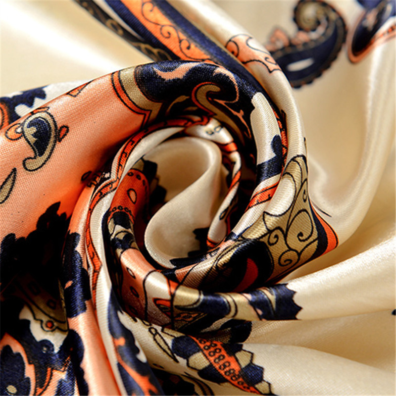 Retro MS Cashew Flower Pattern 90 90cm Satin Square Scarf Muslim Turban For Women Scarves Shawls Female Best Gift in Women 39 s Scarves from Apparel Accessories