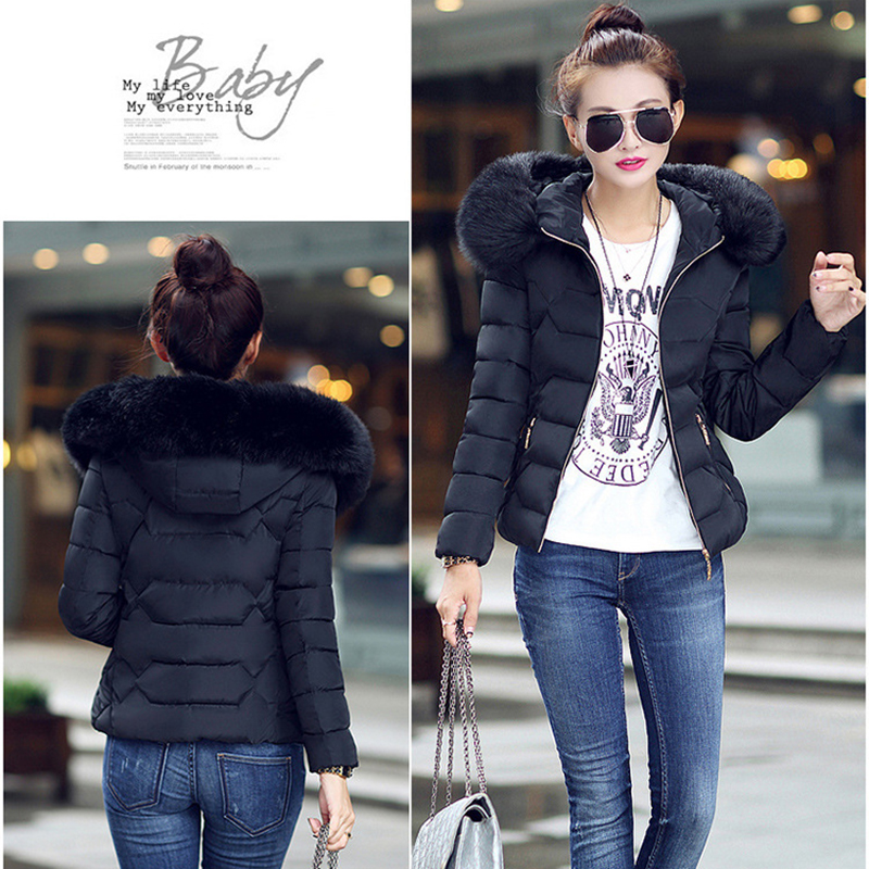 Winter Short Women Jacket Coat Cotton Warm Fur Hooded Parkas Women Outwear Zip Casual Fashion Black Warm Female Coats WT4583 4