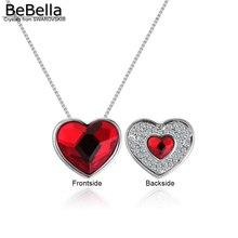 BeBella кристалл в форме сердца падения ожерелье с кристаллами от Swarovski модные для женщин Девушка свадебный подарок