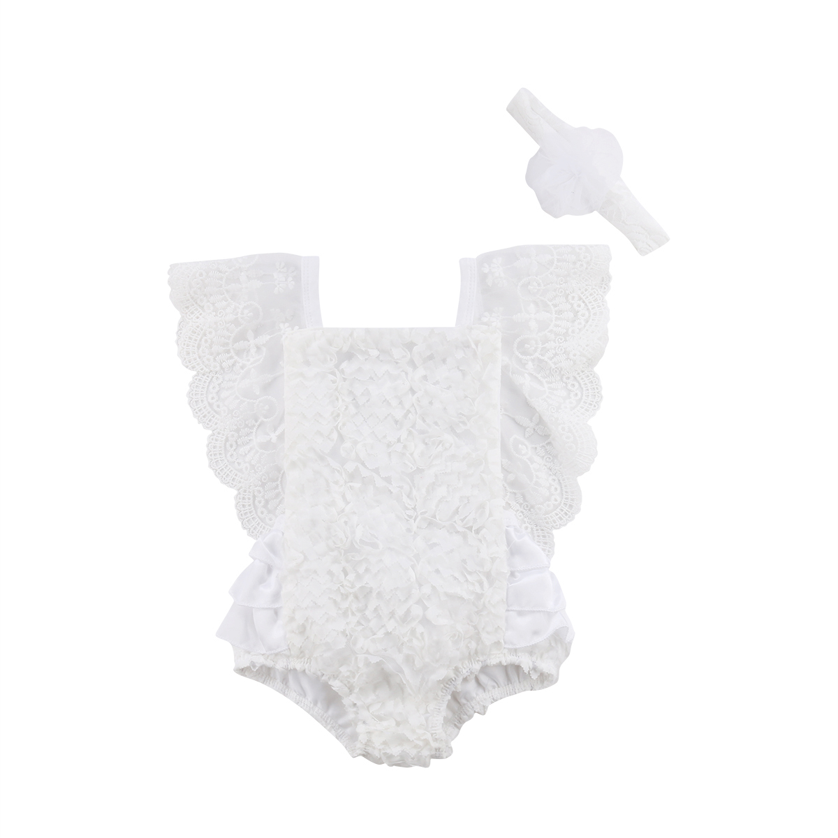 Newborn Baby Girl Ruffle Lace bodysuitt Clothes Outfit Summer pudcoco baby girl cute ruffle white bodysuit