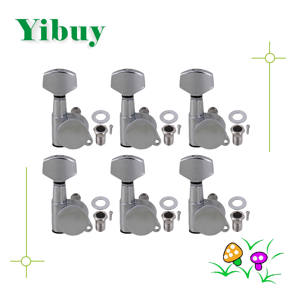 Yibuy chrome Auto lock Electric Acoustic Guitar Machine Heads 6R антиугон auto lock