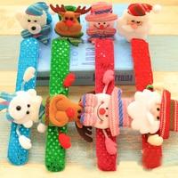 Sale 1Pc New LED Light Glow Bear Snowman Christmas Toy Xmas Slap Circle Bracelet Bangle Wrist Band 4 Styles Wholesale