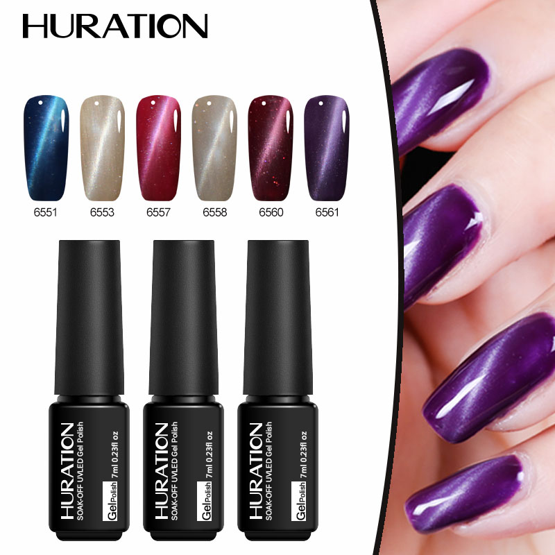Huration 8ml Lucky Colors Cat Eye Gel Polish font b Nail b font art UV Led