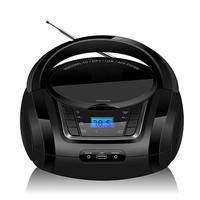 LONPOO Bluetooth CD Player Boombox Portable CD Player USB Boombox Stereo Subwoofer Speaker FM Radio AUX Earphone Boombox