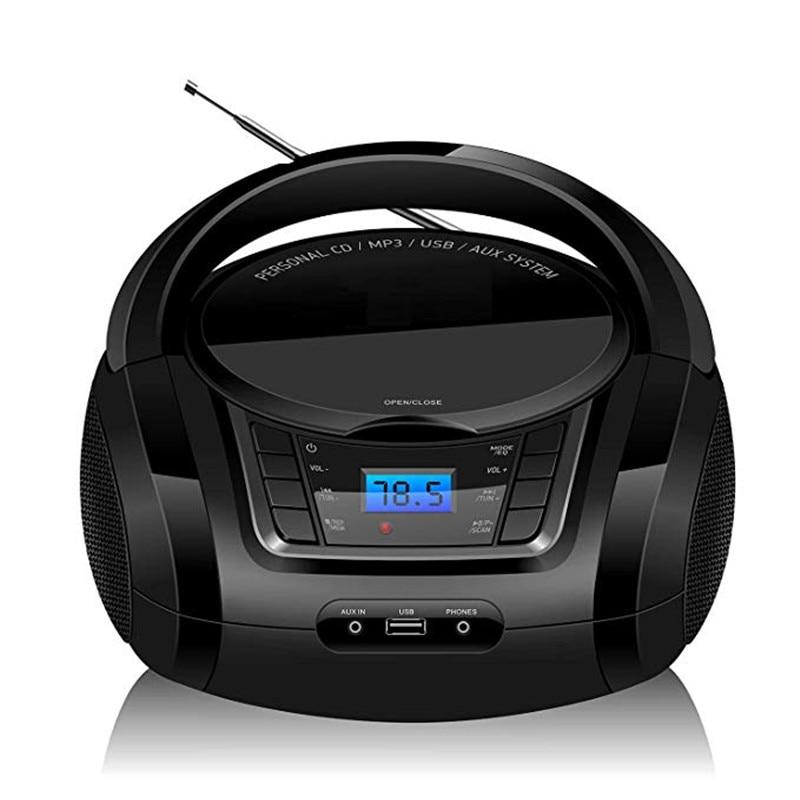 LONPOO Bluetooth lecteur CD Boombox lecteur CD Portable USB Boombox stéréo caisson de basses haut-parleur FM Radio AUX écouteurs Boombox