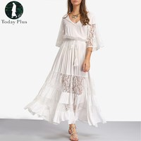 Today Plus 2017 Fashion Women Dress Bohemia Beach V Neck Loose Lace Tassels Solid Lace Up