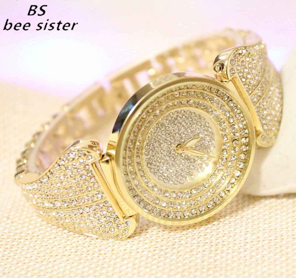 купить BS brand Fashion Rhinestone Quartz ladies Watch Gold Dress Women's Watches Full Diamond Crystal Bracelet Clock relogio feminino по цене 1272.23 рублей