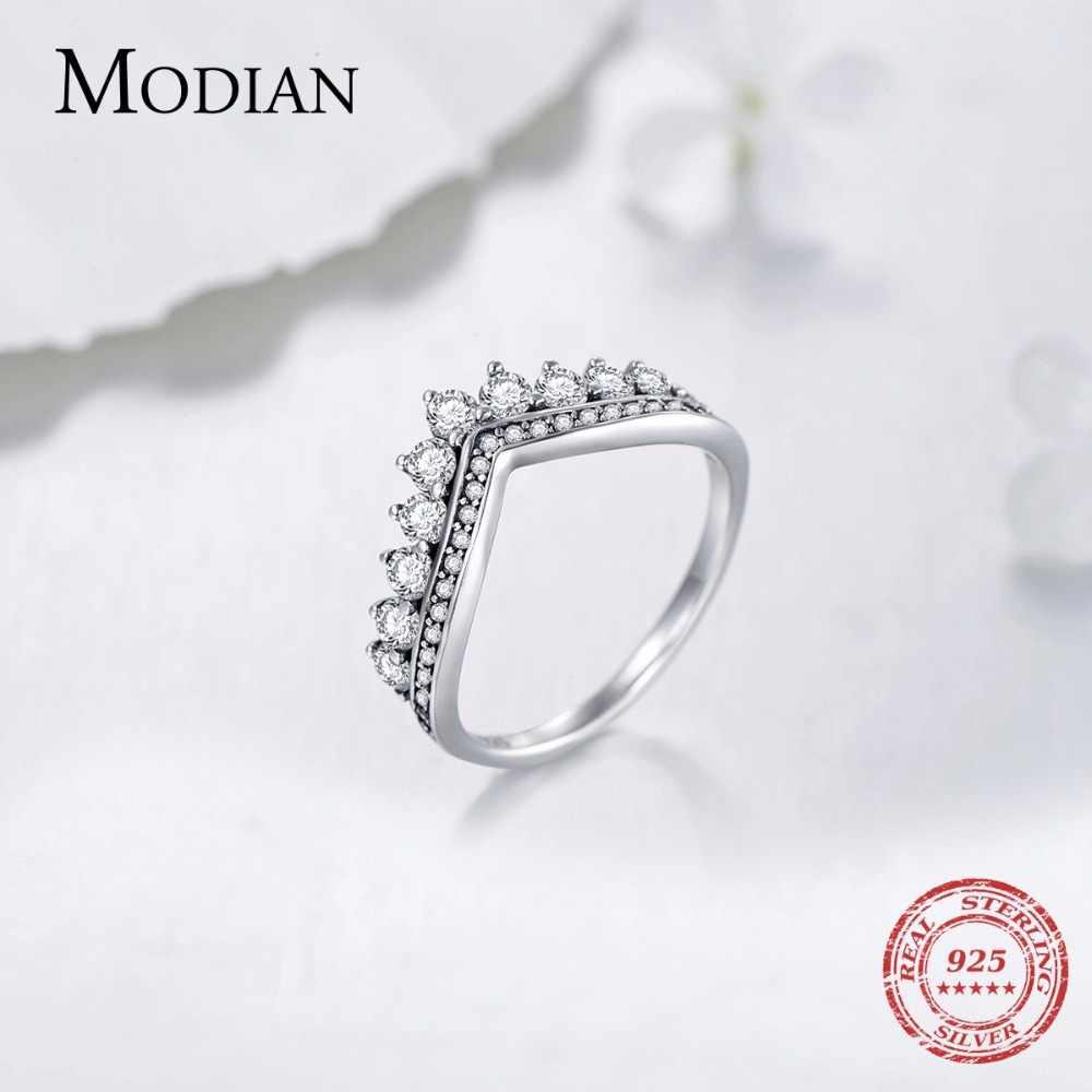 Modian แฟชั่น 100% แท้ 925 Zircon แหวนนิ้วมงกุฎคลาสสิก STACKABLE เงินเครื่องประดับสำหรับงานแต่งงานคริสต์มาสของขวัญ