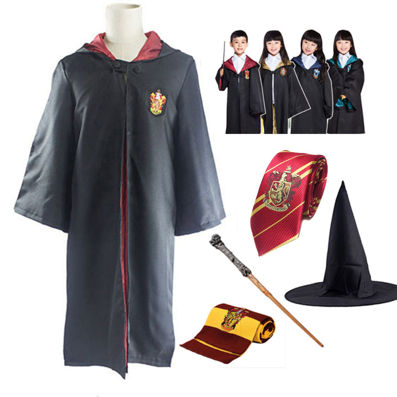 Kids Adult Robe Cape Cloak Gryffindor Slytherin Ravenclaw Hufflepuff Robe Cosplay Costumes For Harris Potter Cosplay Clothes(China)