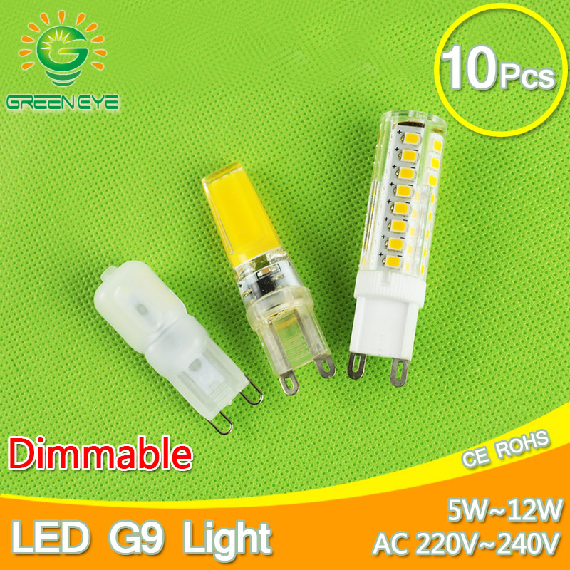 10pcs 5w~12w Dimmable COB LED G9 220V Replace 30~70W halogen SMD2835 LED light Led bulb G9 lamp Crystal Lampara Bombilla Ampoule 2017 new r7s led 118mm 78mm dimmable instead of halogen lamp cob 220v 110v 230v energy saving powerful r7s led bulb 15w 30w