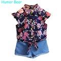 Humor bear estilo flores t-shirt + calças conjuntos de roupas de bebê meninas verão crianças roupas casuais meninas conjunto