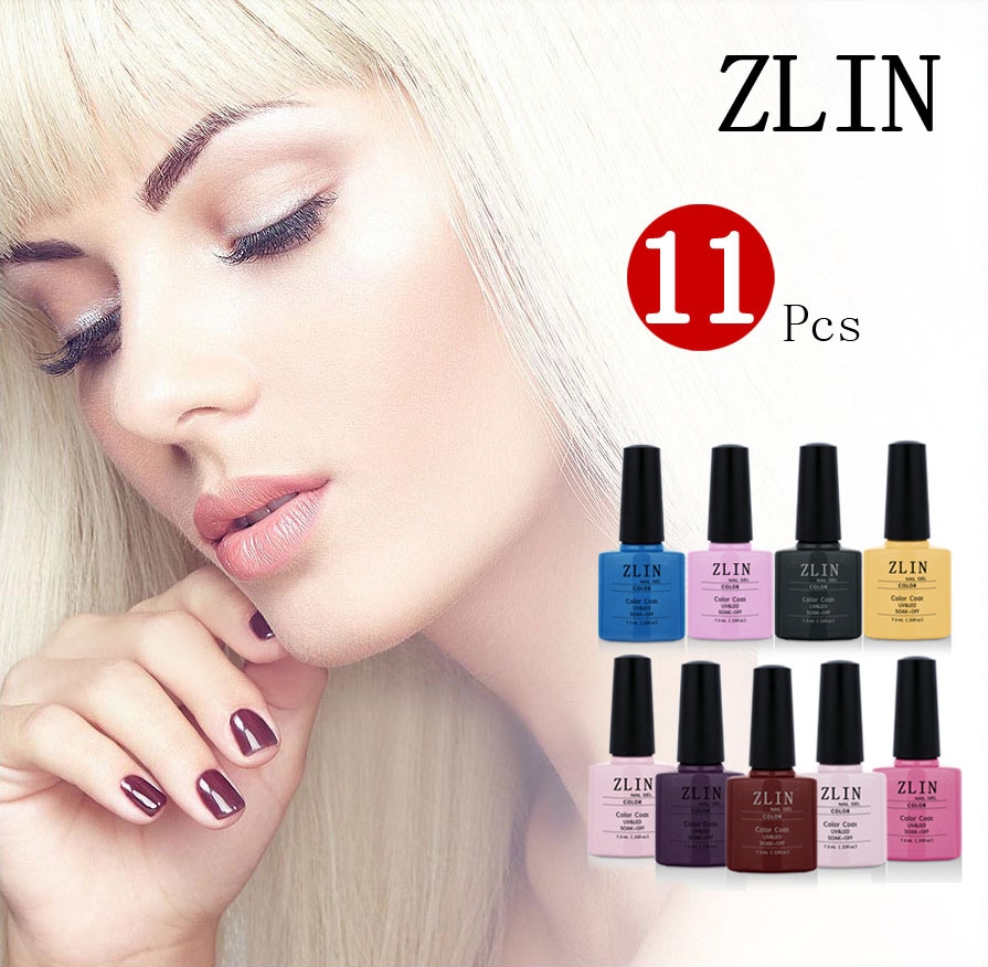 Fashion  ZLIN  Any 11 pcs/lot  Nail Gel  UV Gel Polish Varnish Soak Off Nail Polish Nail Art 79 colors choose 7.3ml  00011