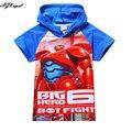 2016 Nova Marca/Impressão Big herói 6 Camisetas Para Meninos Crianças Baymax T shirt Tops de verão Do Bebê Dos Miúdos T camisas Meninos Marca roupas