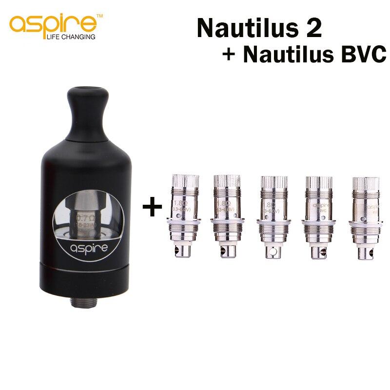E cigarette Aspire Nautilus 2 Tank Atomizer and 5pcs Nautilus BVC Coil 0 7ohm 1 8ohm