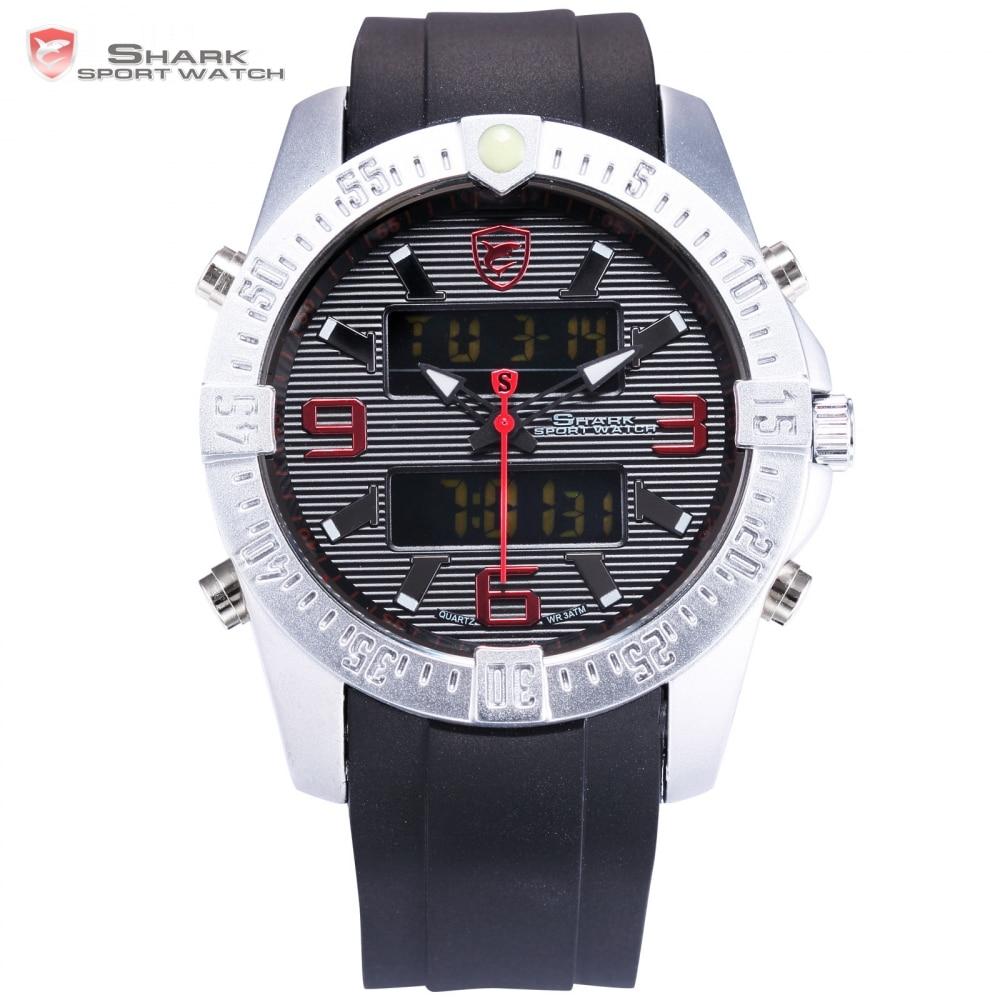 Silvertip SHARK Sport Watch Digital Black Red Montre Homme LCD Date Alarm Stopwatch Silicone Quartz Mens Army Wristwatch /SH375