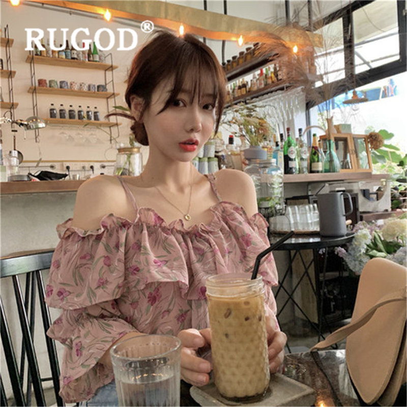 RUGOD New Fashion Floral Print Womens Tops And Blouses Sling Loose Slim Sleeveless Camisas Mujer