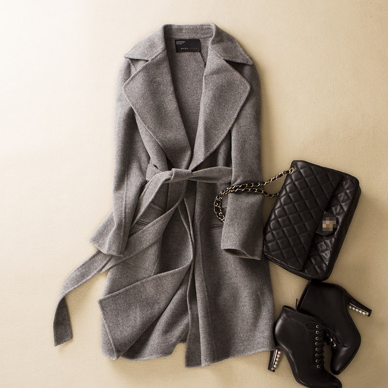 Online Shop 2015 Brand Women's Designer Wool Coat Grey Wool Women ...