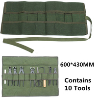 Army Green Japanese Bonsai Storage Package Roll Bag Garden Repair Tool Pliers Scissors Canvas Tool Set