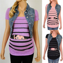 Maternity Cute Funny Baby Print Striped Short Sleeve Pregnant Tops ropa mujer Clothes For Pregnant WomenD4