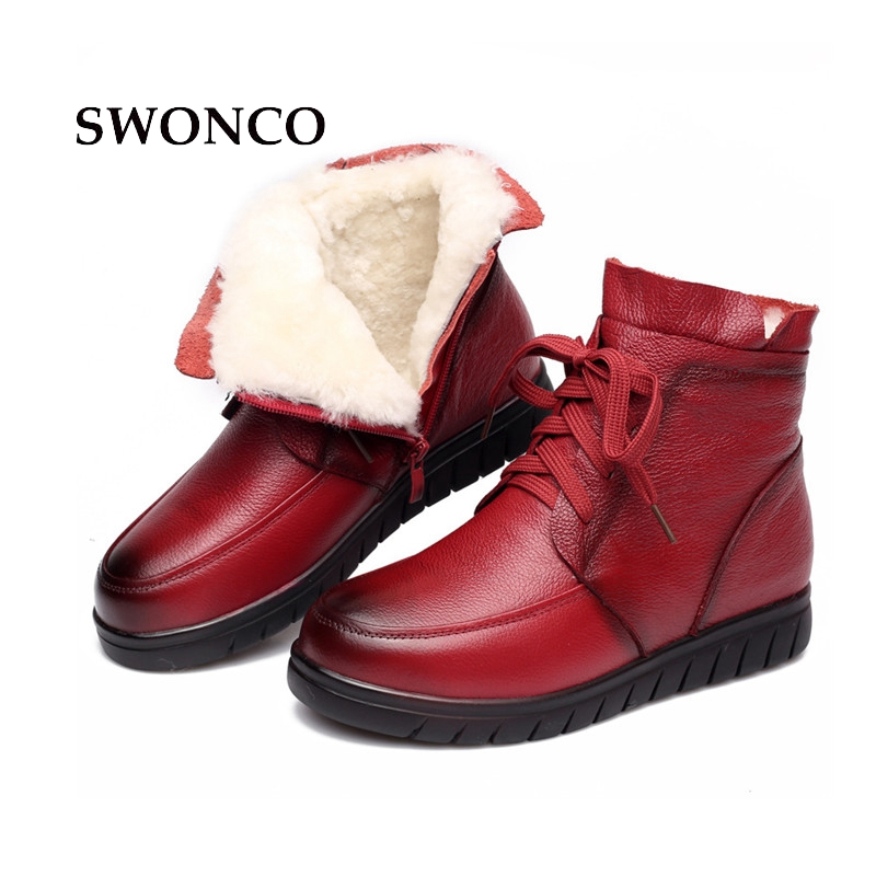 SWONCO Women's Winter Boots 2018 Genuine Leather Fur Wool Snow Boot Shoes Woman Ankle Boots For Women Lace Up Ladies Winter Boot keaiqianjin woman studded snow boots pink black winter genuine leather flat shoes flower platform fur crystal ankle boot 2017