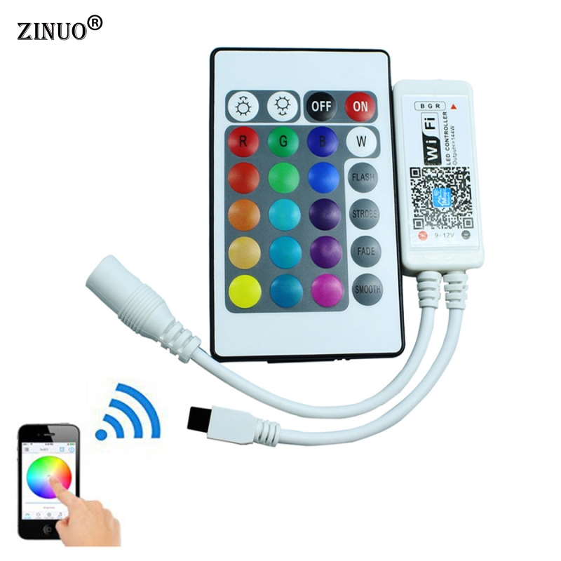 ZINUOWifi Controller With 24Key Remote Controller For Led Strip RGB RGBW Timing Function DIY 16million colors Smartphone Control 12v mini wifi rgb led controller with 24key remote music controller smartphone control for strip suport amason alexa google home