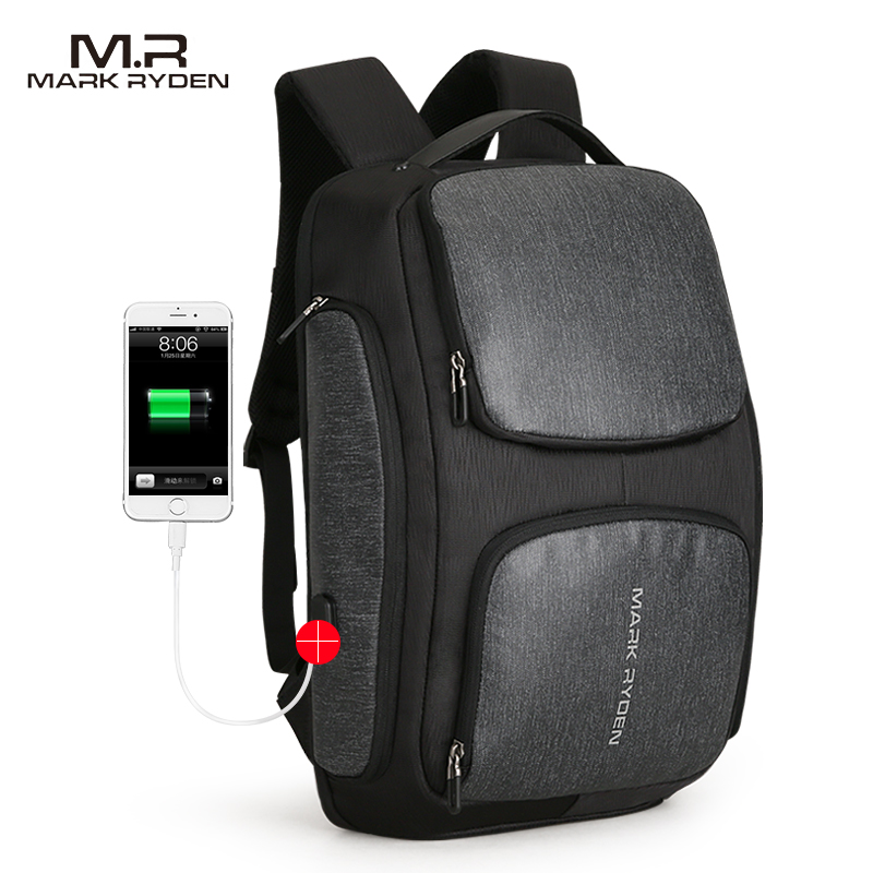 MarkRyden 2018New Men Backpack USB Charging Bag 15.6inch Laptop Backpack High Capacity Men Travel Backpack 2017 markryden men backpack student school bag large capacity trip backpack usb charging laptop backpack for14inches 15inches