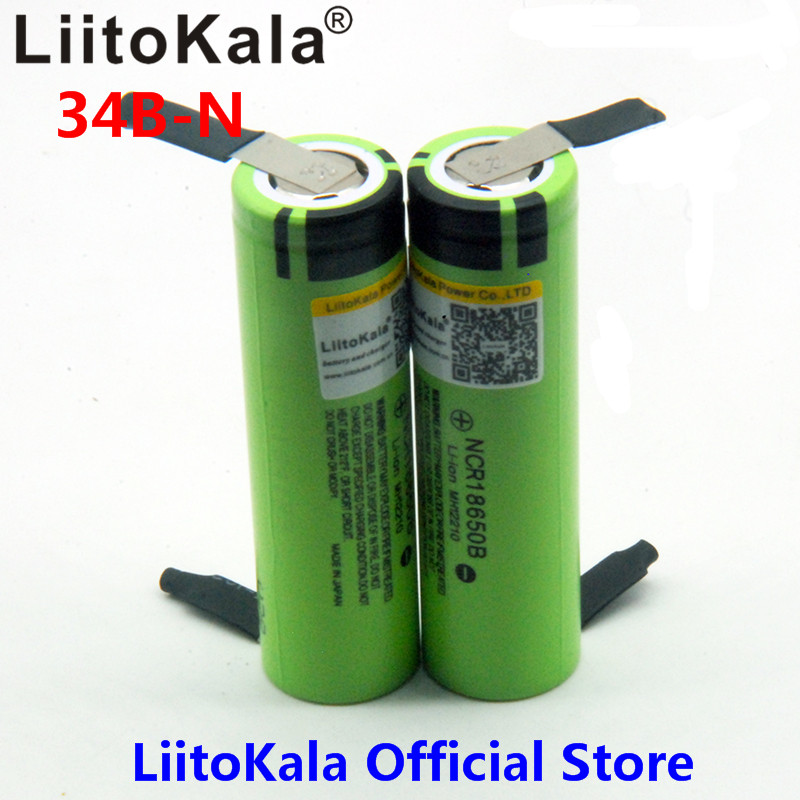 все цены на 2pcs liitokala 18650 3400 Battery 3400mAh 3.7V NCR18650B Rechargeable Li-ion Battery for Flashlight for +DIY nickel онлайн