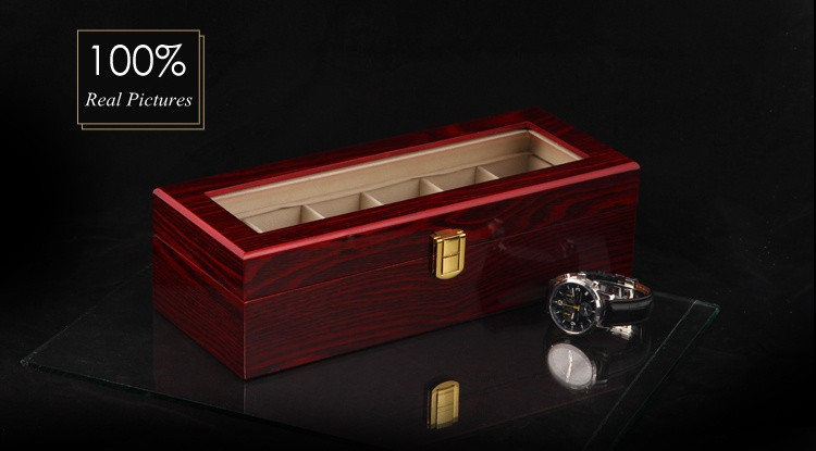 Free Shipping 6 Grids Watch Display Box Red High Light Lacquer Wooden Watch Boxes Fashion Design