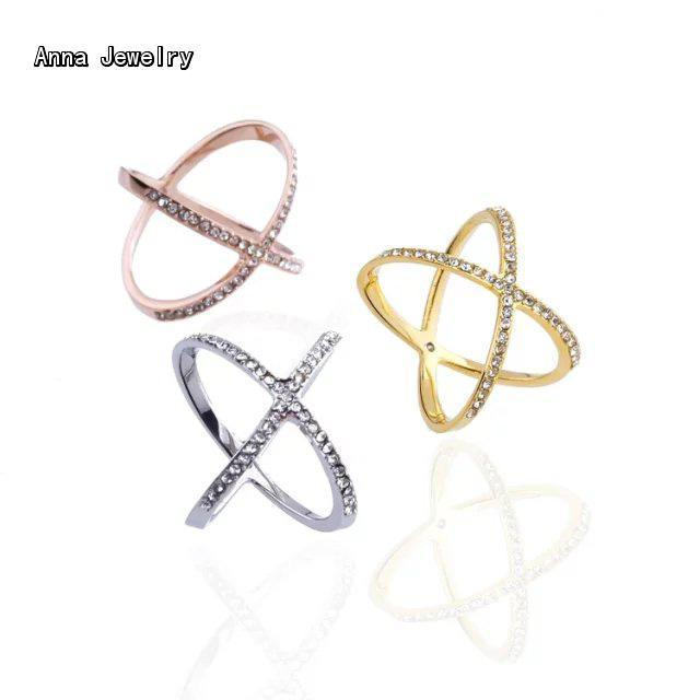 New Fashion Designer Thin Criss Cross X Ring,in Stainless Steel Material with Paved Clear Zircons,Stylish Stones Ring for Women