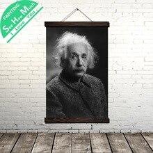 Монохромный Свиток Эйнштейна Живопись Холст Старинные Плакат и Отпечатки Wall Art Pictures Гостиная