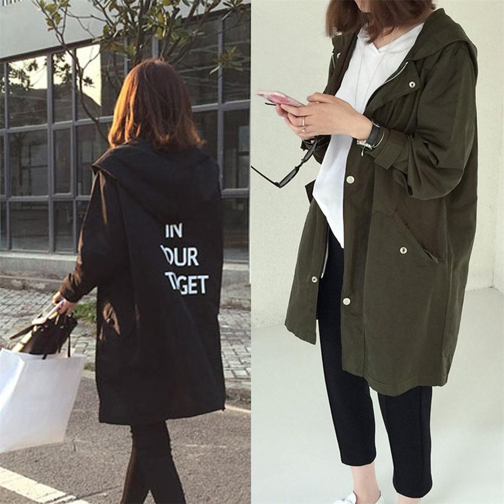 Korean Fashion England Style Spring Loose Type Jacket Outwear Letter Printed Lon