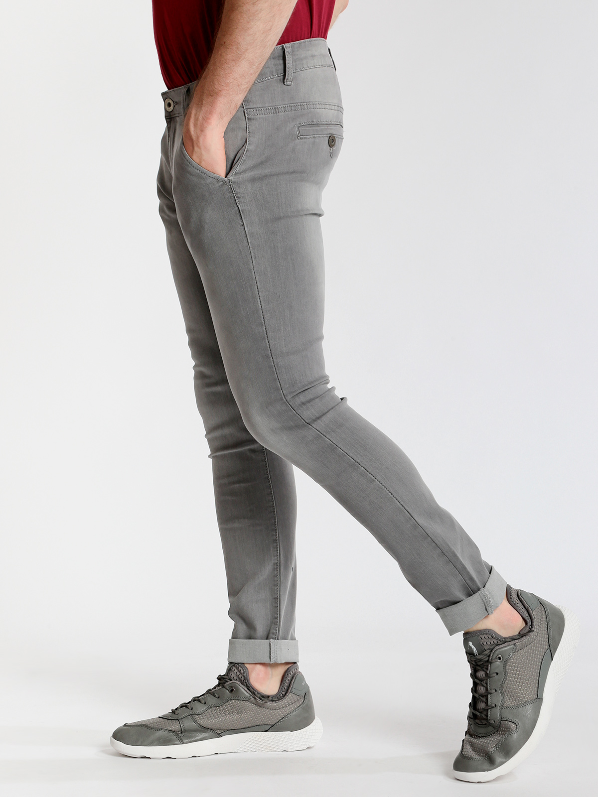 3-D Jeans Stonewashed Skinny Fit-Gray