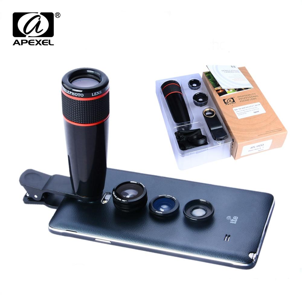 4 In 1 Universal Clip Camera Lens Kit 12X Telephoto Lens