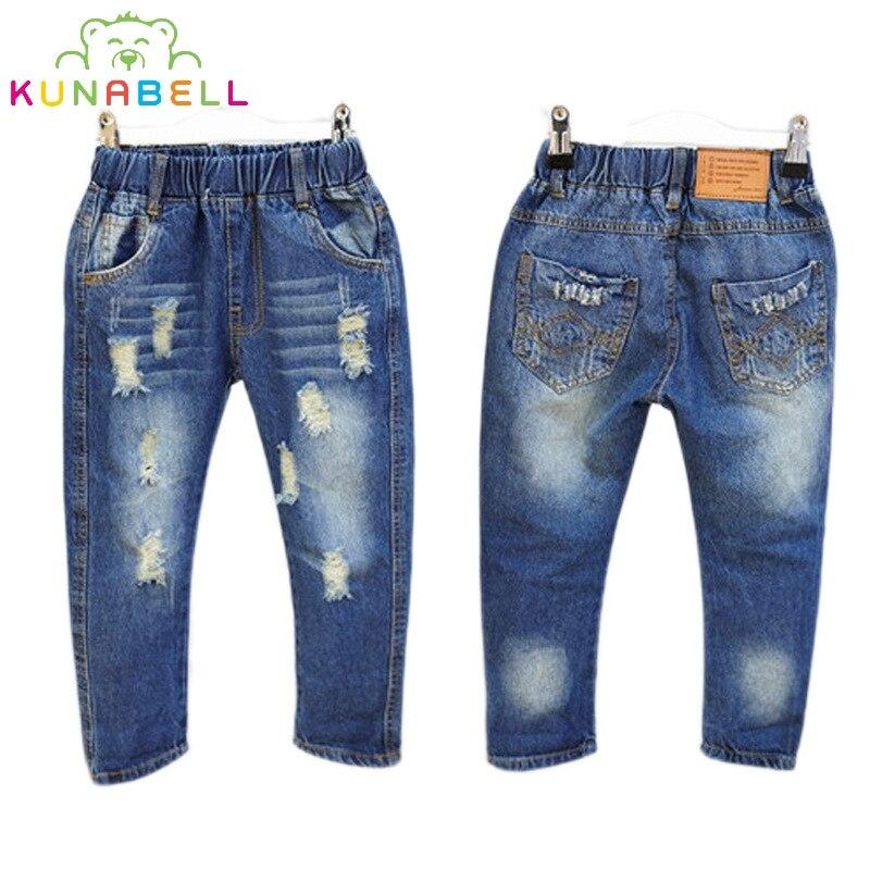 Crianças de Jeans Crianças Calças roupas furado Lavado rasgado calça jeans  meninas calças Primavera Outono Meninas denim calças elásticas cós L261 694e3f61a542c