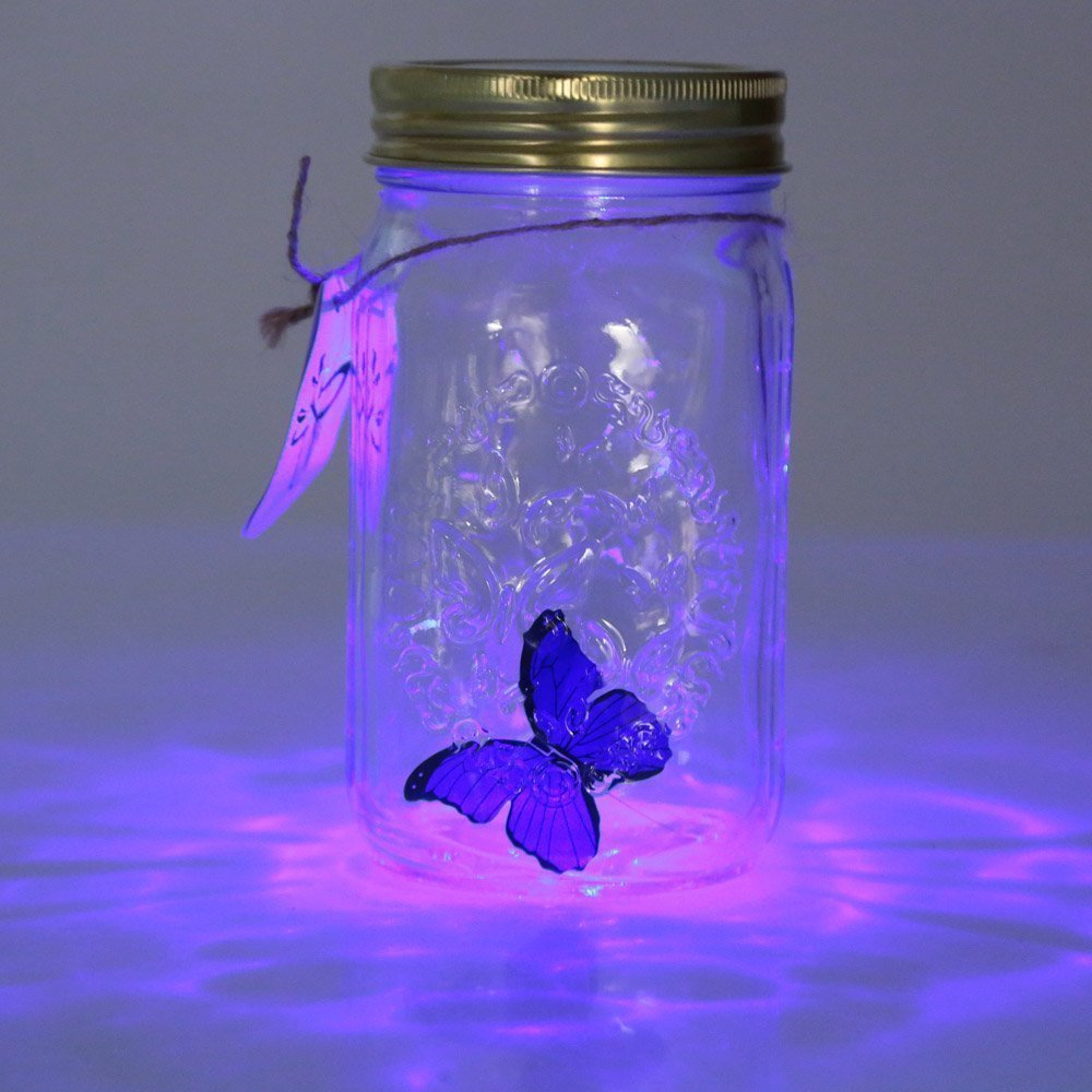 ZINUO Novelty Light Butterfly Jar With Lamp Romantic Glass LED Lamp Butterfly In A Jar Valentine Children Gift Home Decoration
