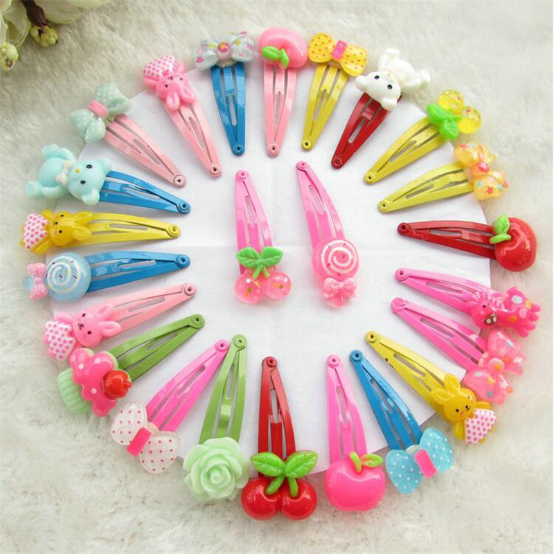 Children Barrette BB Clip Flower Bow Hairpin Cartoon Hairgrip Candy Color Bithday Gift Hairpins Girl Hair Accessories 10Pcs/Lot