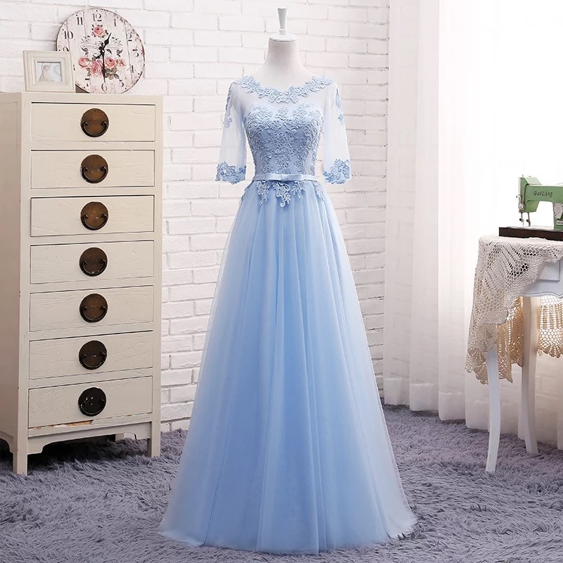 Long Pink Grey Blue Half Sleeve A line Tulle Lace Cheap Formal Bridesmaid Dresses 2019 Party