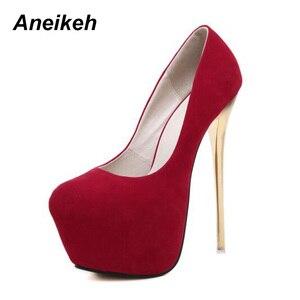 "Image 4 - Aneikeh גדול גודל 41 42 43 44 45 סקסי משאבות חתונה נשים פטיש נעליים גבוהה עקב חשפנית צאן משאבות 16 ס""מ Zapatos Mujer"