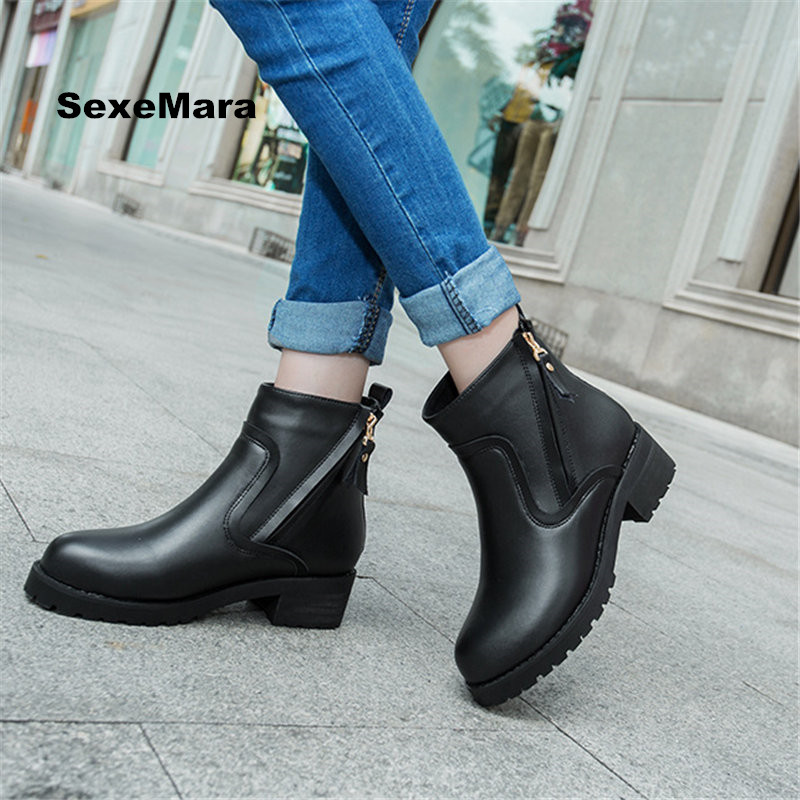 2017 Woman boots Outdoor Winter Snow Martin boots velvet leather casual shoes fashion wedge oxford Thick zapatos mujer EU 35-43 тостер scarlett sc tm11013
