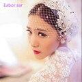 2017 a Europa e os Estados Unidos e o fio net véu modelagem flor cabeça acessórios para o cabelo de casamento da noiva de fios net Coreano cabeça