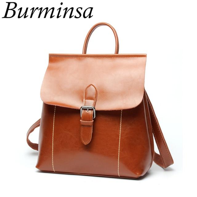 ee2cceaa87ec US $43.16 48% OFF|Burminsa Genuine Leather Backpack Women's Casual Shoulder  Bags Designer Brand Travel Bagpack School Bags For Teenage Girls 2018-in ...